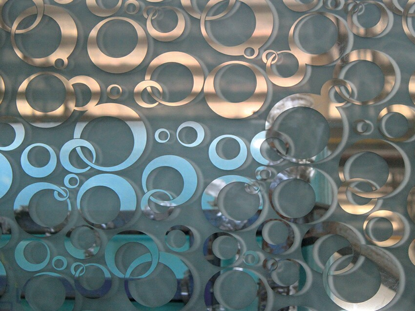 1830*2440mm titanium coated glass acid etched mirror glass