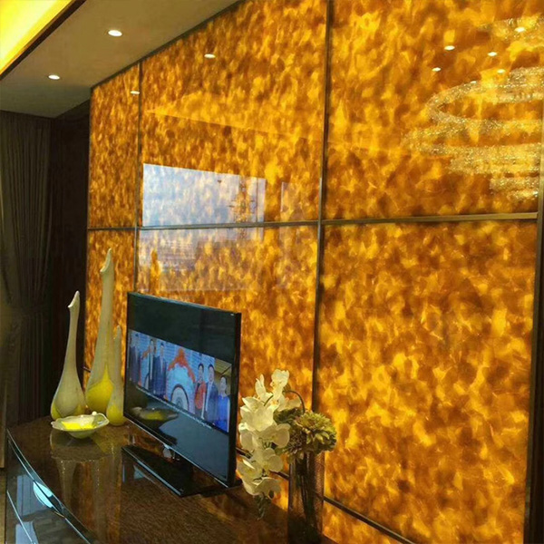 Jade Glass Hotel Screen Transparent Background Wall Cladding for interior home decoration