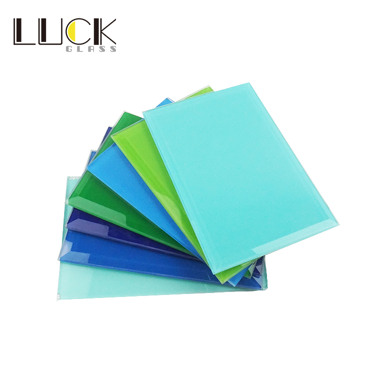 LUCK custom color Tempered Glass Lacquered back painted glass panels For Kitchen Splashback
